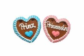 Lebkuchenherzen Prinzessin und Prinz 10 cm im Karton - Bild vergrößern