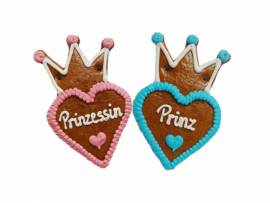 Lebkuchenherzen mit Krone 10 cm ,Prinzessin und Prinz  im Karton - Bild vergrößern