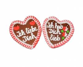 Wiesn Lebkuchenherzen Spruch Liebe 3-fach sortiert 13 x 14 cm Dekoration - Bild vergrößern