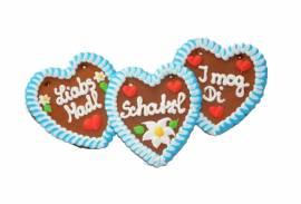 Wiesn Lebkuchenherzen bayrisch weiß/blau, Schatzl, Liabs Madl usw.13 x 14  cm Bäckerei - Bild vergrößern