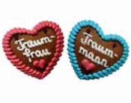 Lebkuchenherzen Spruch Traummann und Traumfrau 10 cm   im Karton - Bild vergrößern