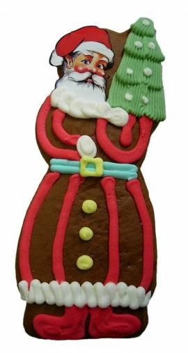 Lebkuchen Weihnachtsmann mit Tannenbaum - Bild vergrößern