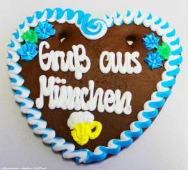 Lebkuchenherzen Spruch Gru� aus M�nchen, Dekoration , Catering - Bild vergr��ern