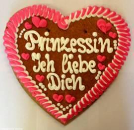 Lebkuchenherz XXL Prinzessin ich liebe Dich - Bild vergrößern