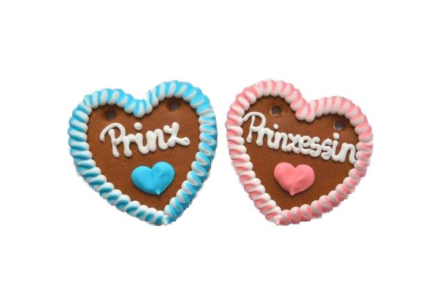 1 Lebkuchenherz  Prinzessin oder Prinz 10 cm