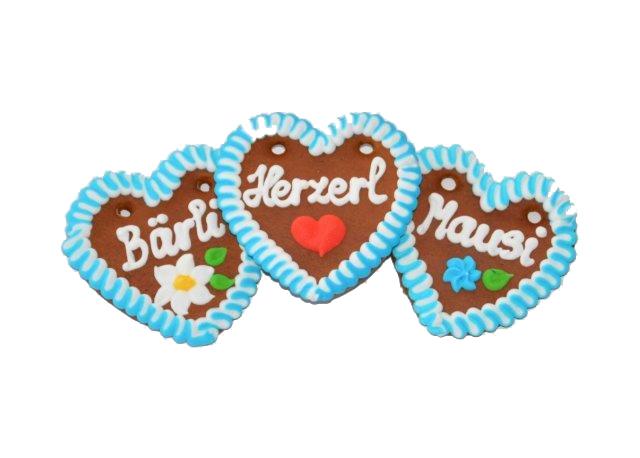 Lebkuchenherzen im Karton bayrisch weiß/blau 10 cm , rot im Karton