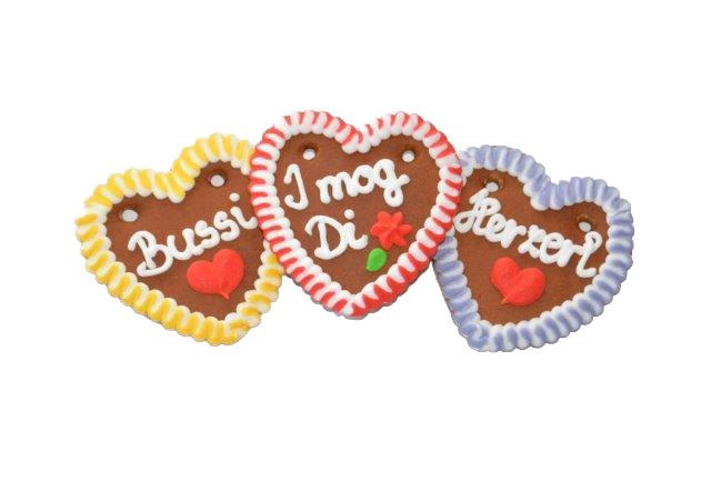 Lebkuchenherzen im Karton bayrisch bunt, Liabs Herzl, Spatzl, Mausi 10 cm