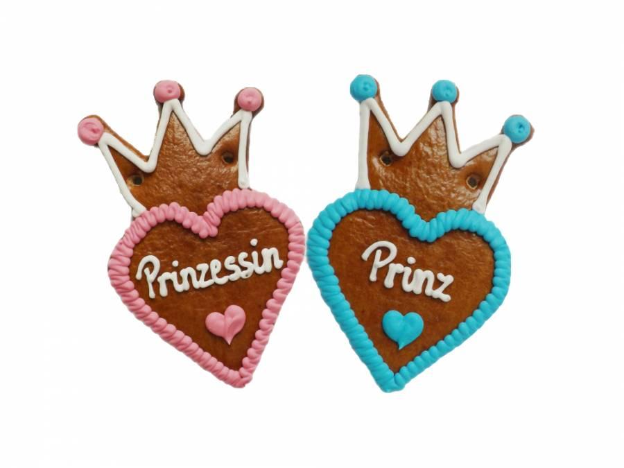 Lebkuchenherzen mit Krone 10 cm ,Prinzessin und Prinz  im Karton