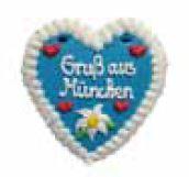 Wiesn Lebkuchenherzen Spruch bGruss aus München lasiert,  Lieferant