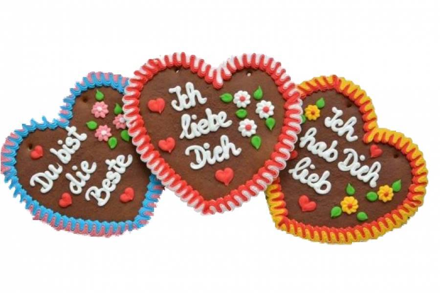 Oktoberfest Lebkuchenherzen Ich hab Dich lieb, Ich liebe Dich Hersteller