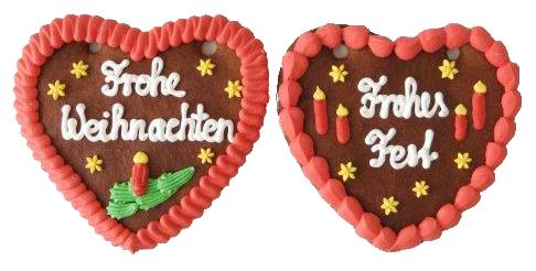 Lebkuchen Weihnachtsherz 2-fach sortiert 16 cm ,Karton 20 Stück