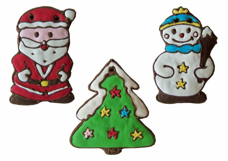 Lebkuchen Weihnachstsmann, Schneemann, Tannenbaum 21 cm,Karton 30 Stück