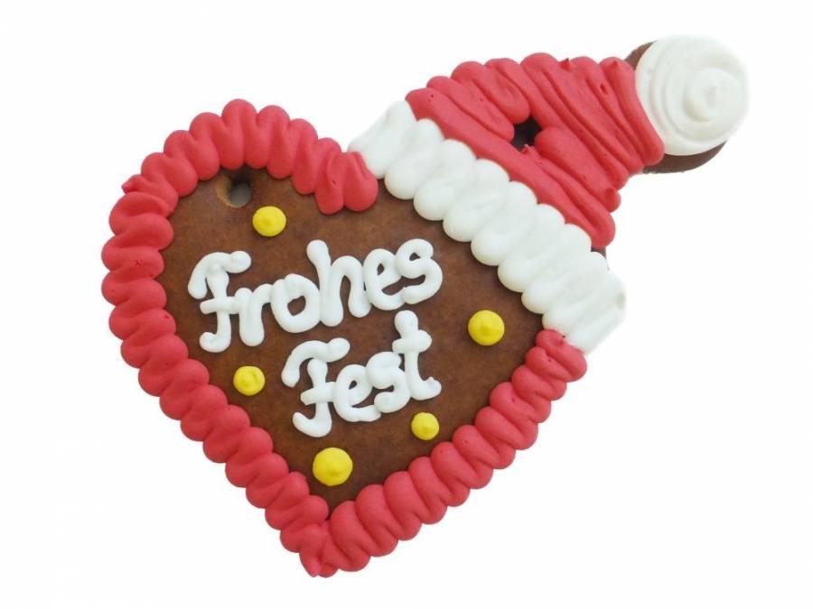 Lebkuchen Herz mit Mütze 12 cm ,Karton 50 Stück