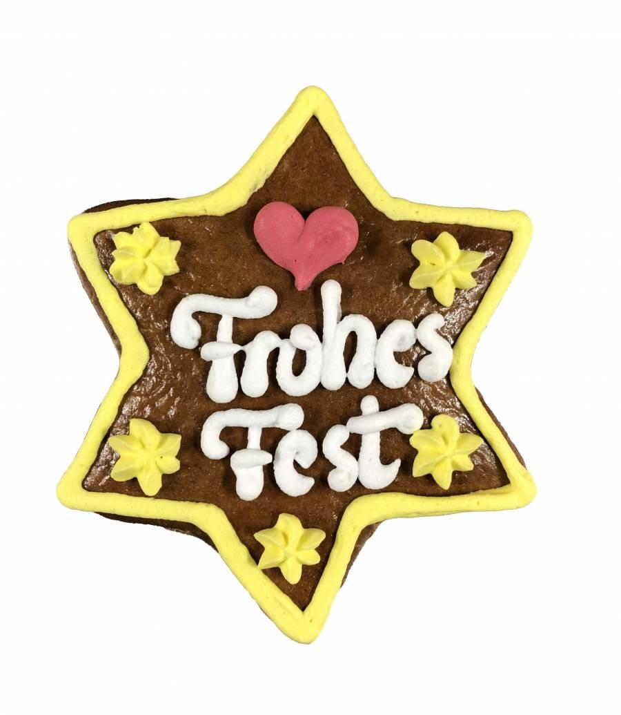 Lebkuchen-Stern 12 cm Frohes Fest
