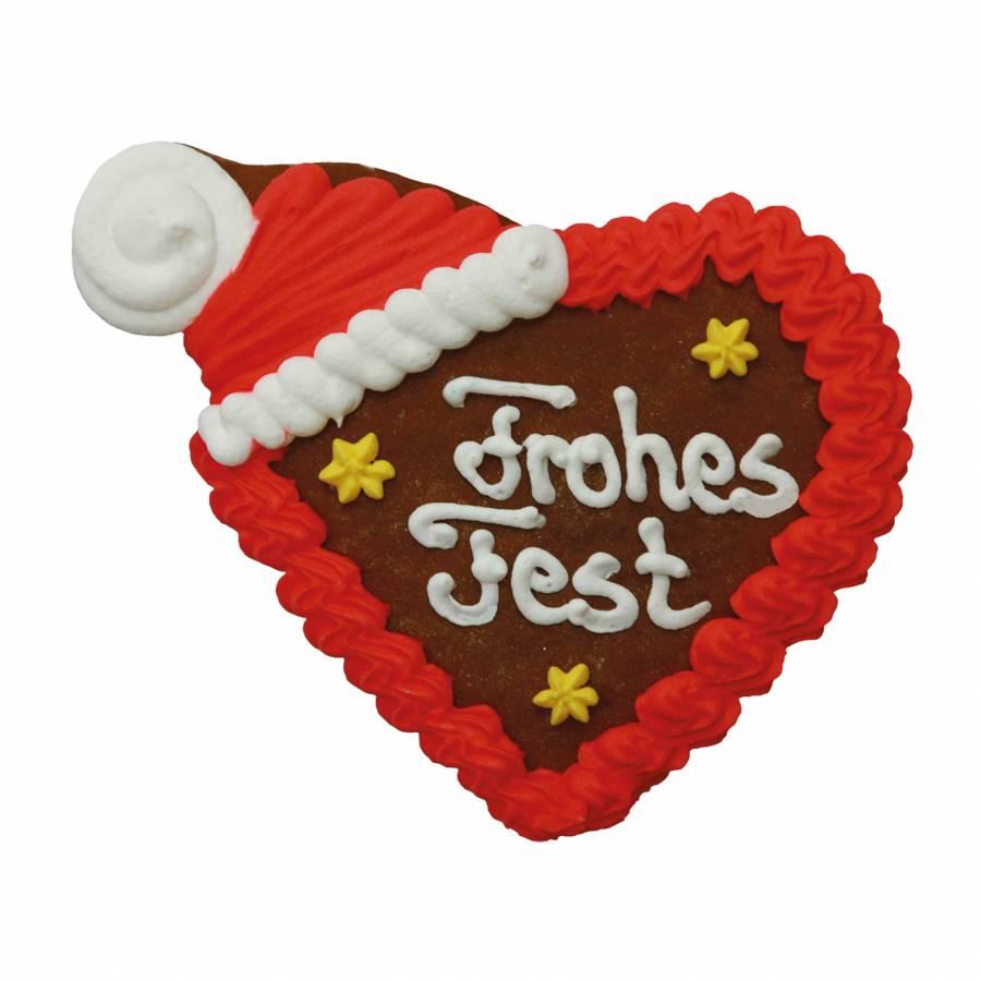 Lebkuchen Zipfelmützenherz Frohes Fest 14 x 12 cm 28 Stück im Karton