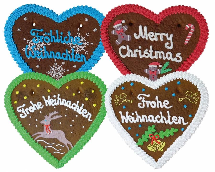 Lebkuchen Herz Frohe Weihnachten,Merry Christmas 36 cm ,Karton 8  Stück