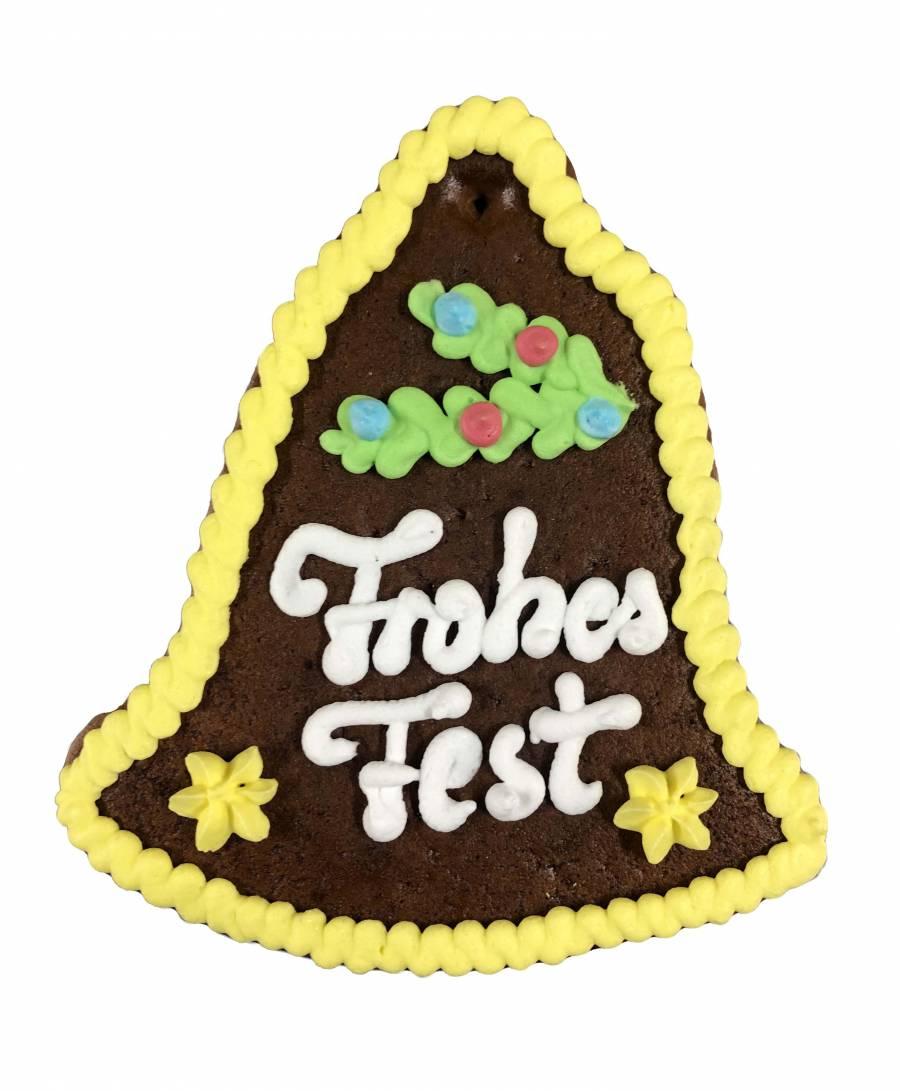 Lebkuchen-Glocke  Frohes Fest 13, 5 cm ,Karton 20 Stück