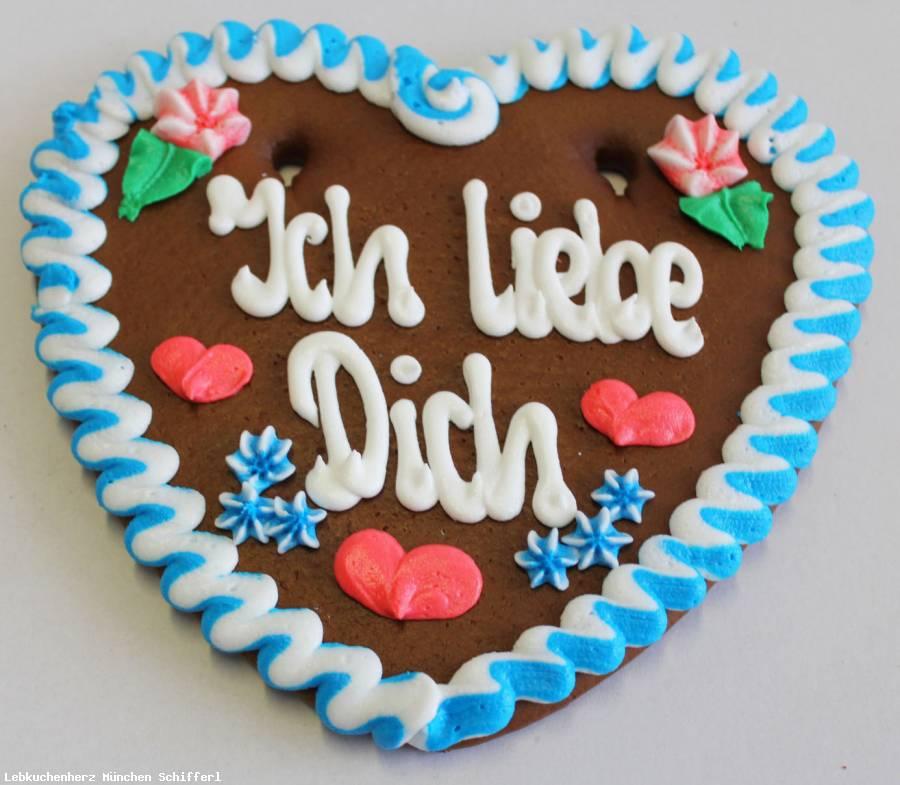 Lebkuchenherzen Spruch Ich lieb Dich ,blau/weiss 23 cm