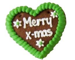 Lebkuchen Weihnachtsherz Merry x-mas 10 cm