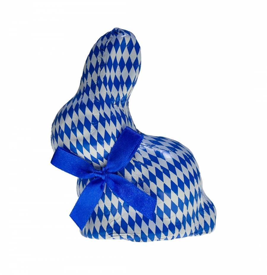 Osterhase,  Sitzhase in weiss blauem Stanniol
