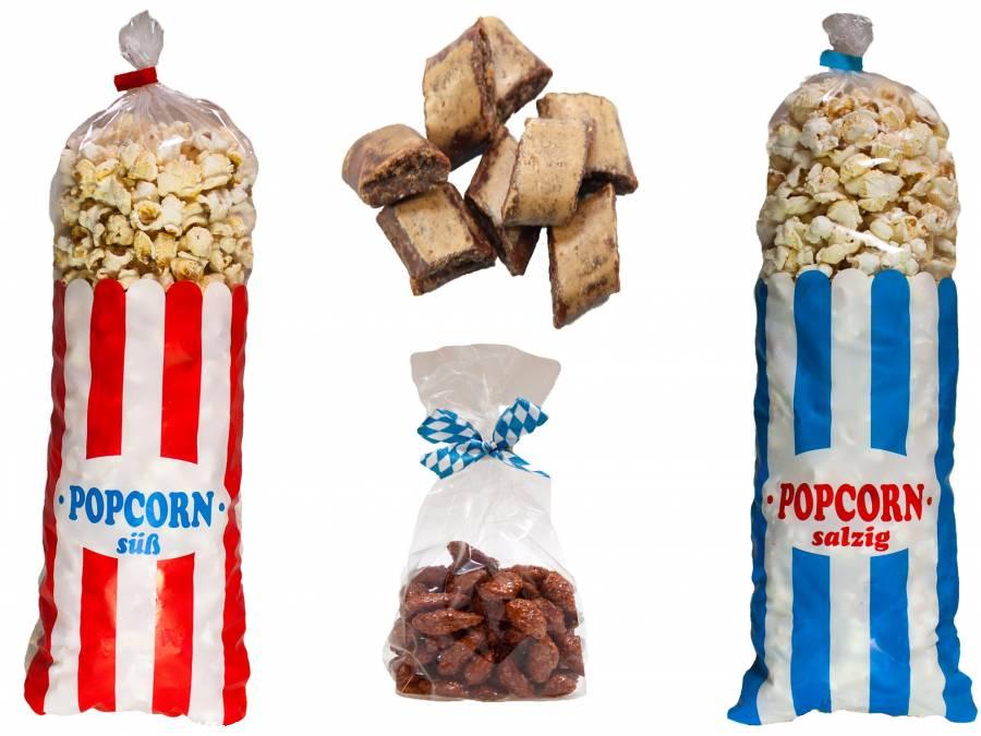 Volksfest-Paket ,Popcorn 1,2 Kilo, gebrannte Mandeln 2 kg, Magenbrot  1,6 Kilo